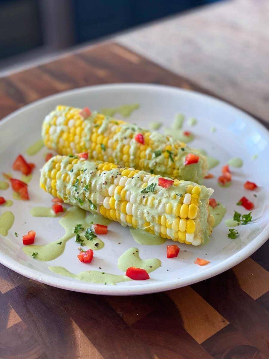 sous vide sweet corn side dish with sauce
