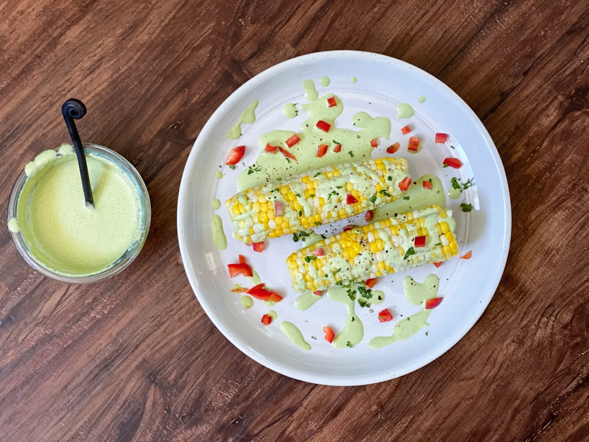 Sous vide sweet corn dish with a side of sauce