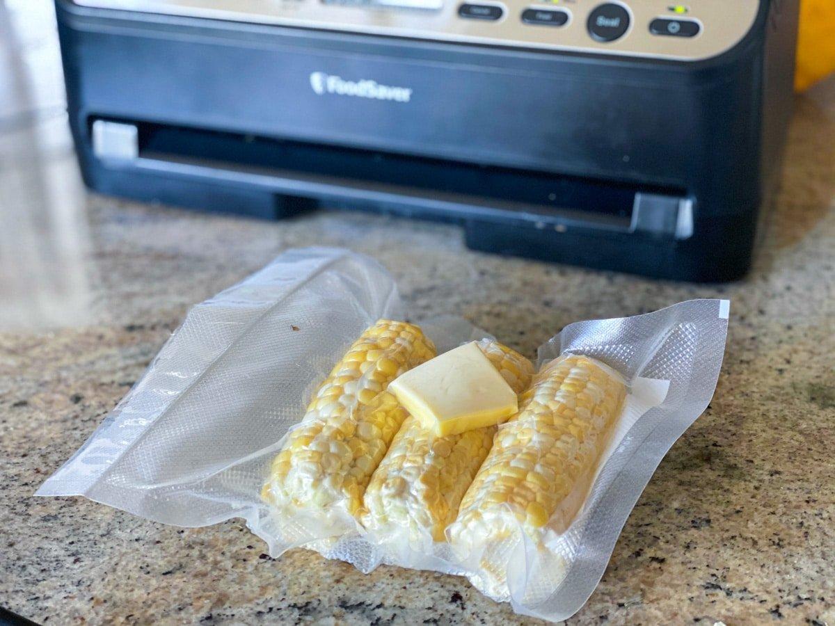 vacuum sealing sweet corn for sous vide cooking