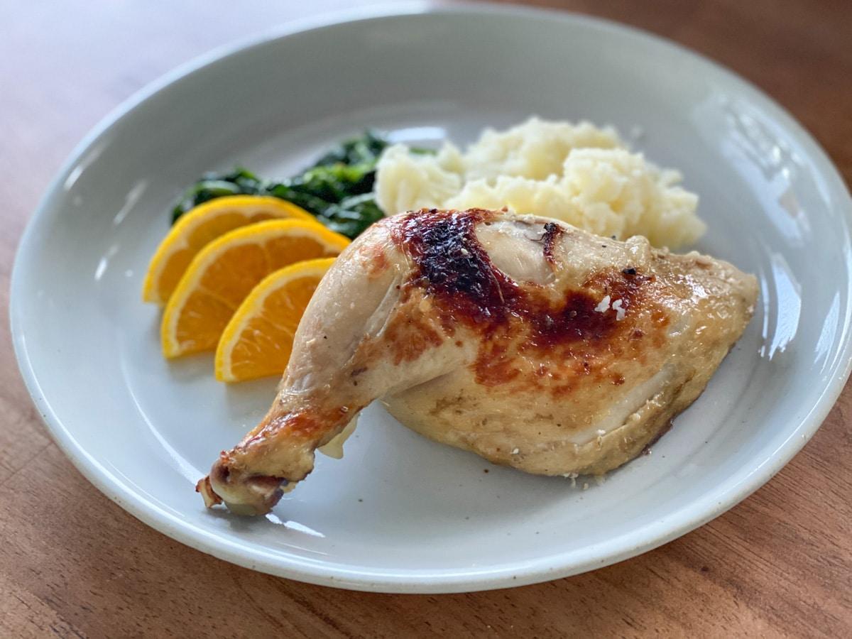 roasted sous vide chicken leg dinner plate