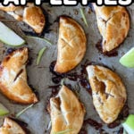 pinterest pin for mini apple hand pies with pie crust recipe