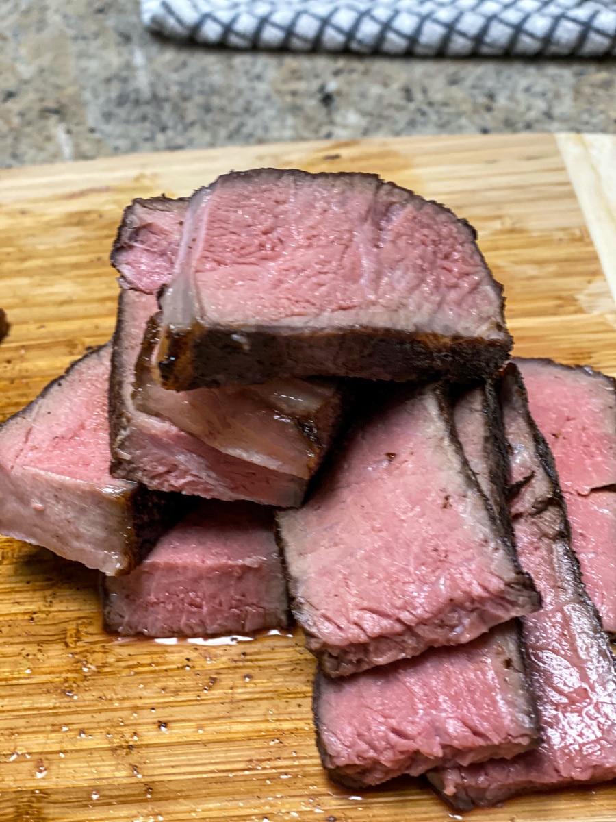 sliced ny strip sous vide steak