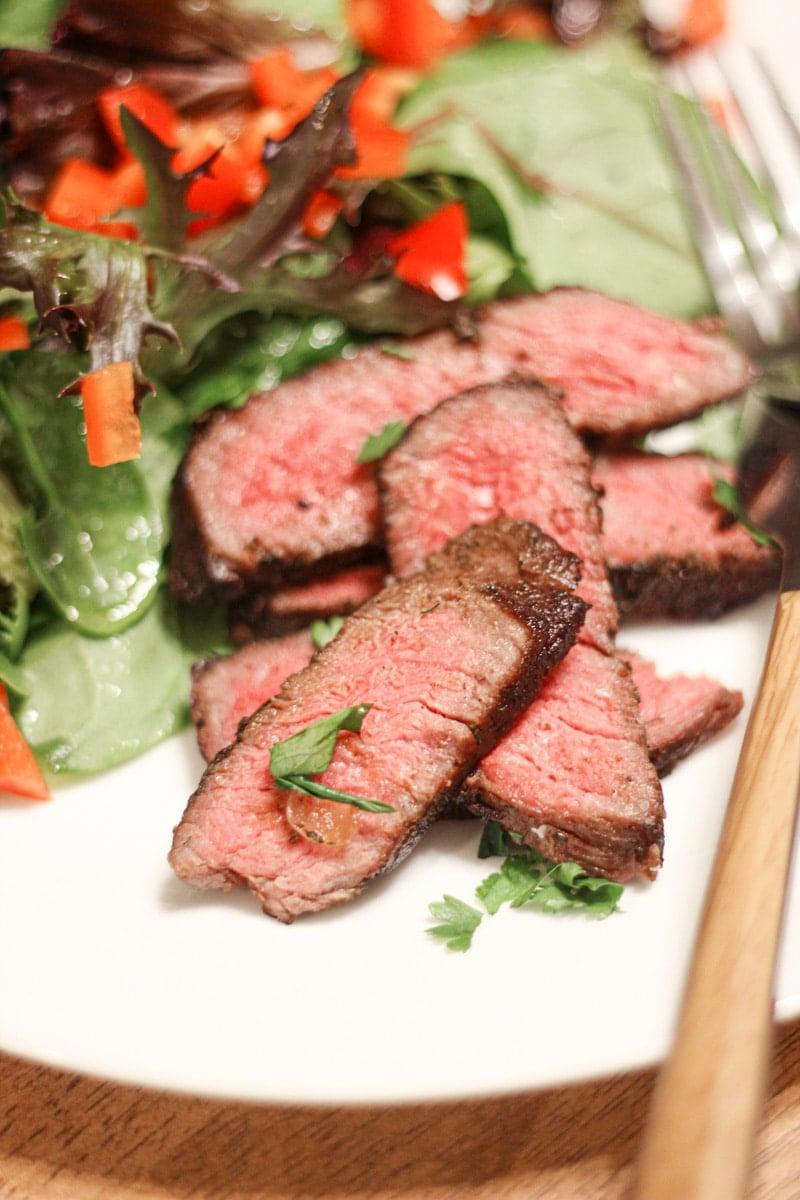 Sous Vide Top Sirloin Steak with salad