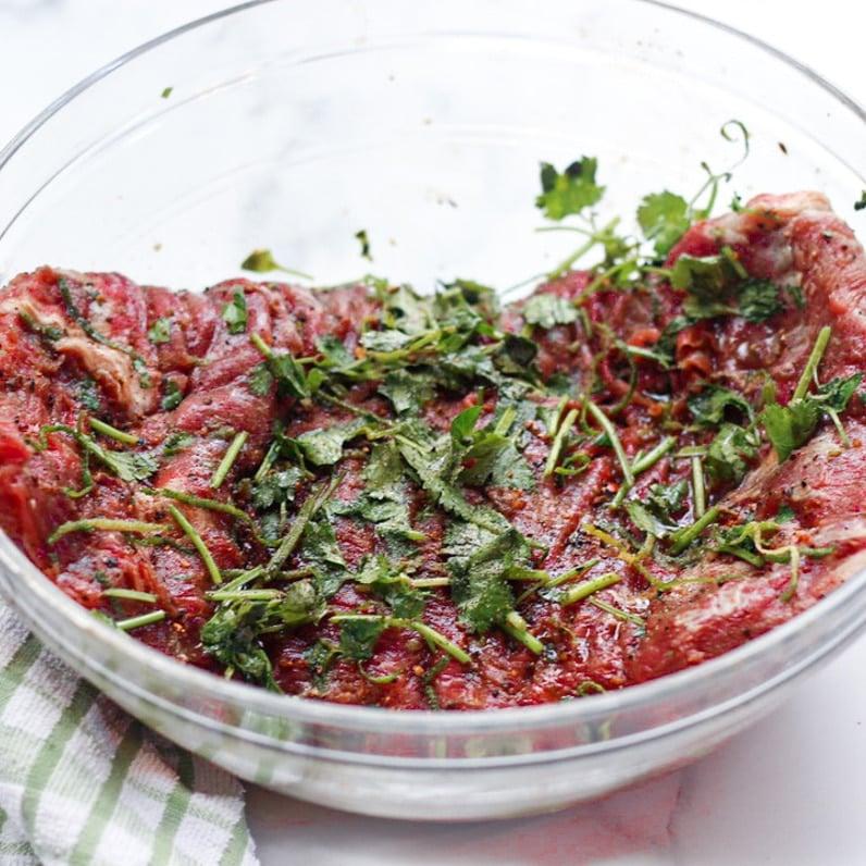 skirt steak marinading before sous vide bath