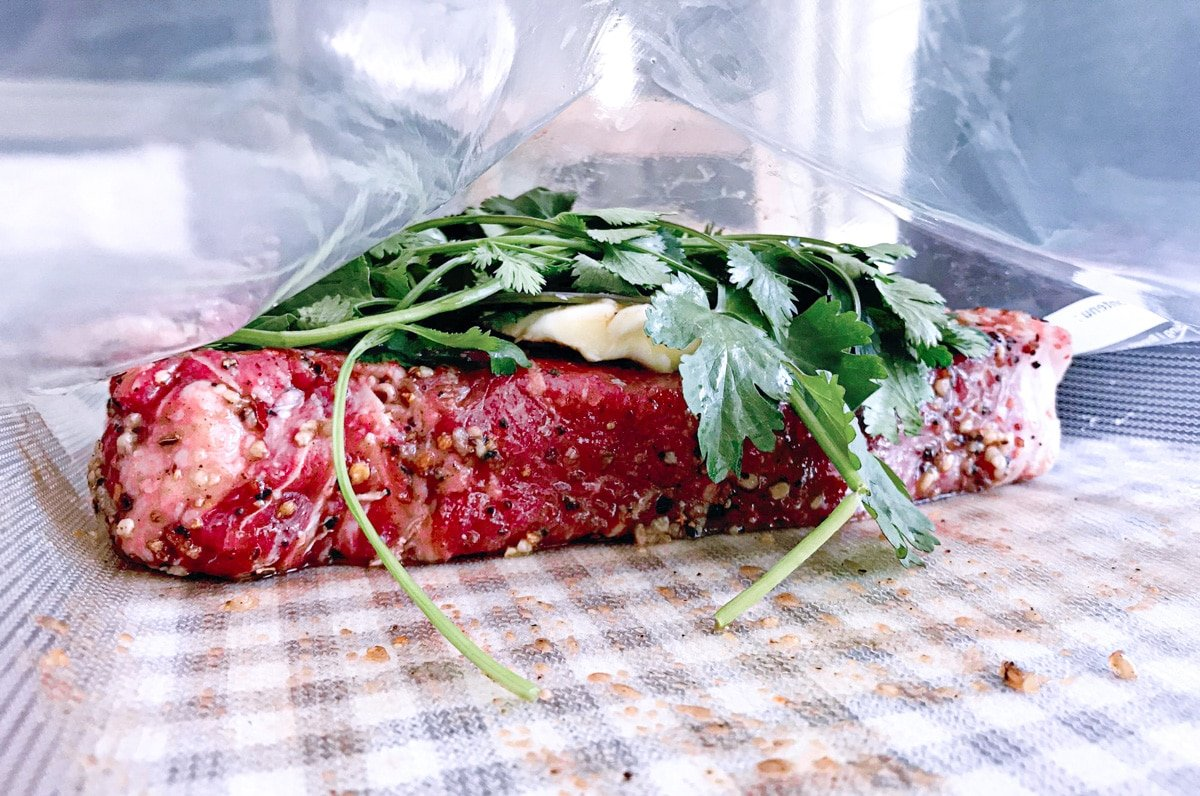 sous vide marinated skirt steak with cilantro