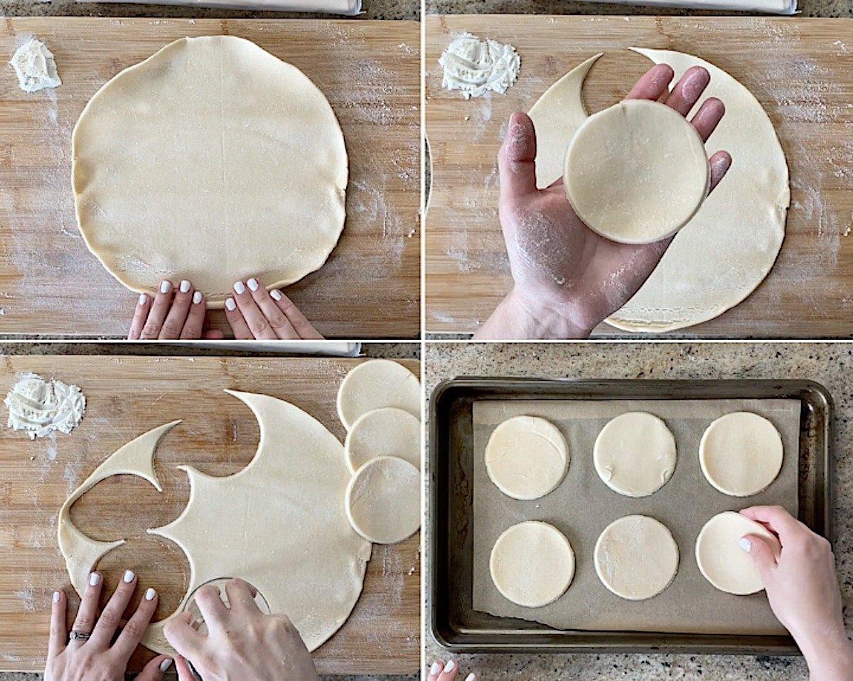 shaping circles for mini pie dough