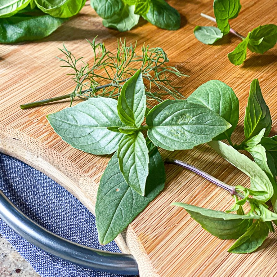 preparing fresh herbs for cooking feature