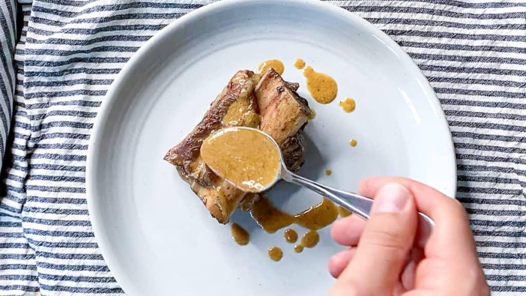creamy peppercorn sauce on sous vide short ribs