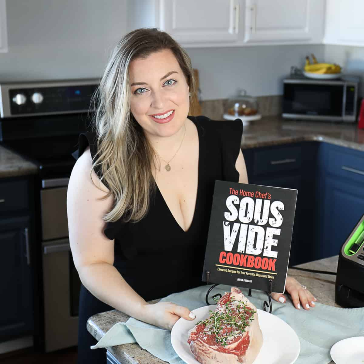 jenna passaro next to sous vide cookbook with prime rib on white plate