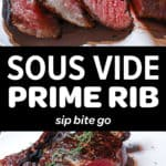 Two stacked images of sous vide steak cooked and sliced with text overlay