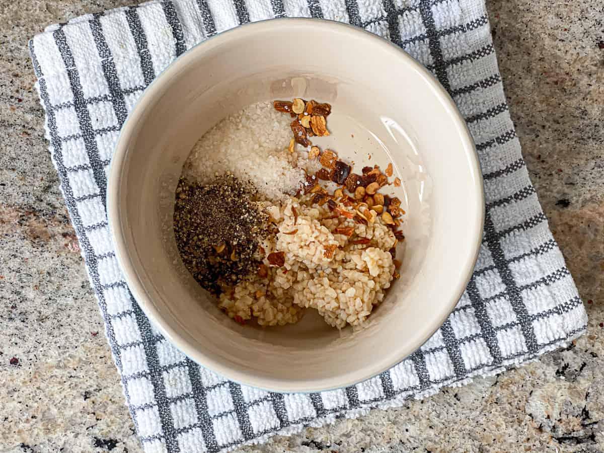 top shot of seasonings for sous vide tri tip in small bowl