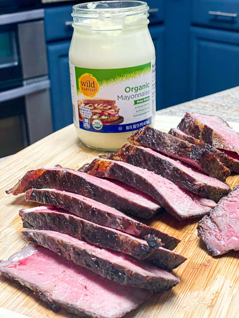 mayo sear finished sous vide ny strip steak sliced with wild harvest mayo