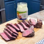 mayo seared sous vide steak with wild harvest brand jar of mayonnaise