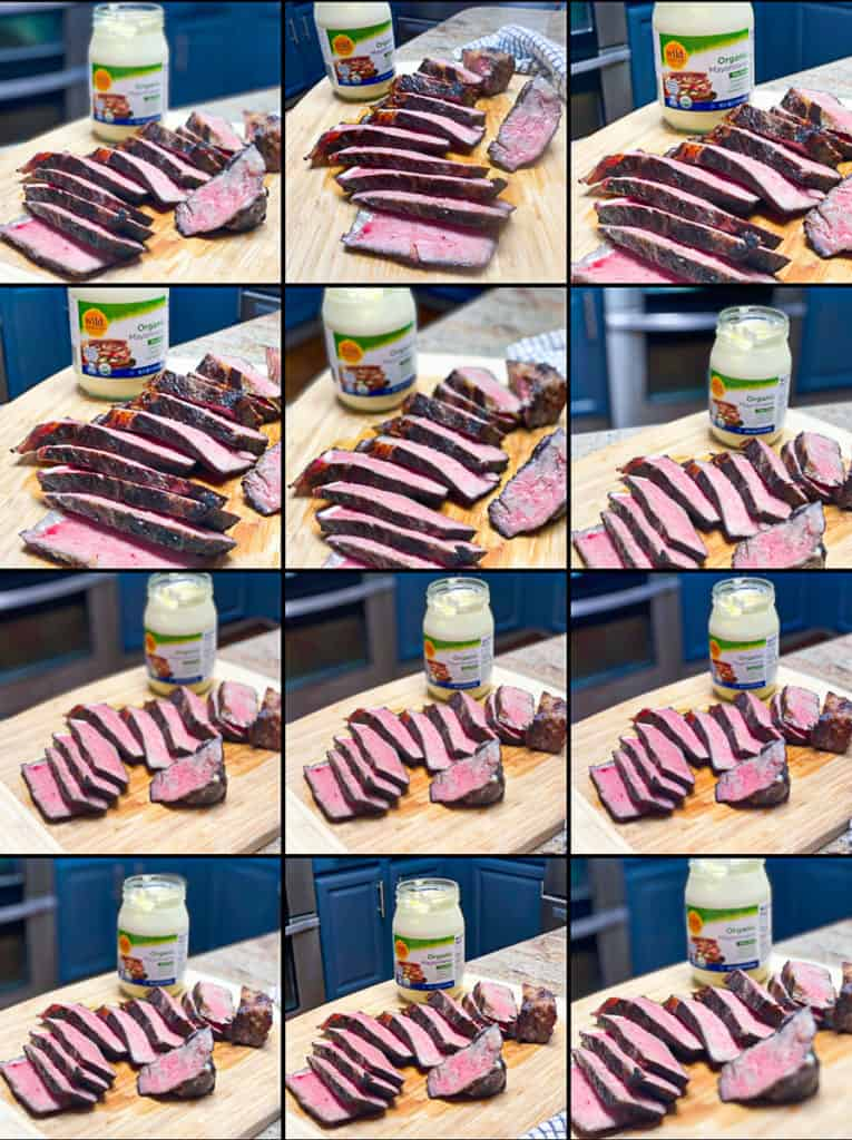 camera roll collage with sous vide ny strip steak with wild harvest mayonnaise