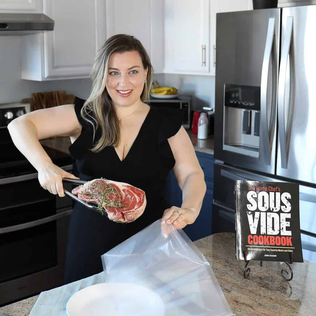 jenna passaro with steak and the home chef's sous vide cookbook