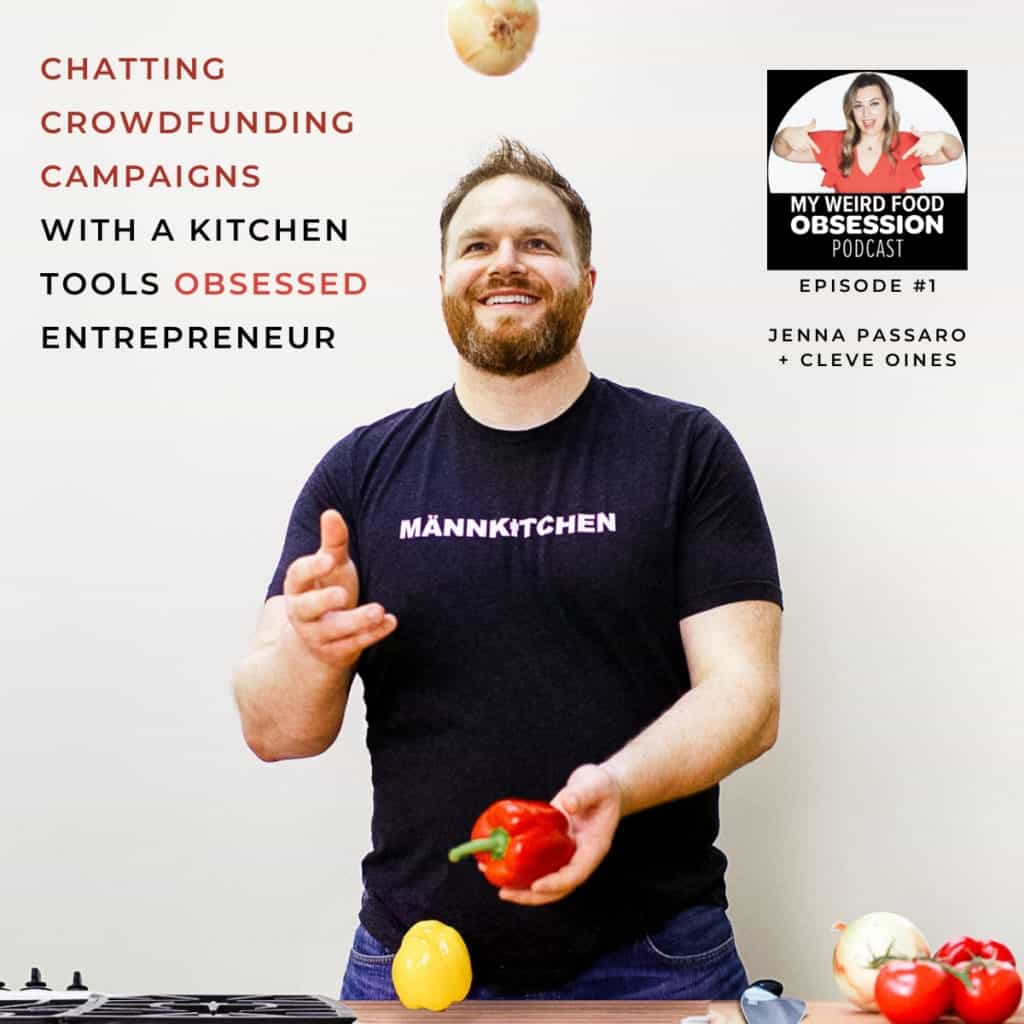 man juggling onions and peppers with food podcast text overlay