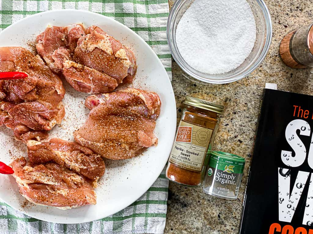 seasoned boneless skinless chicken thighs with spices
