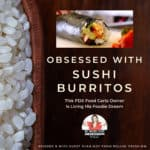 title text overlay with bowl of rice, sushi burrito and podcast logo