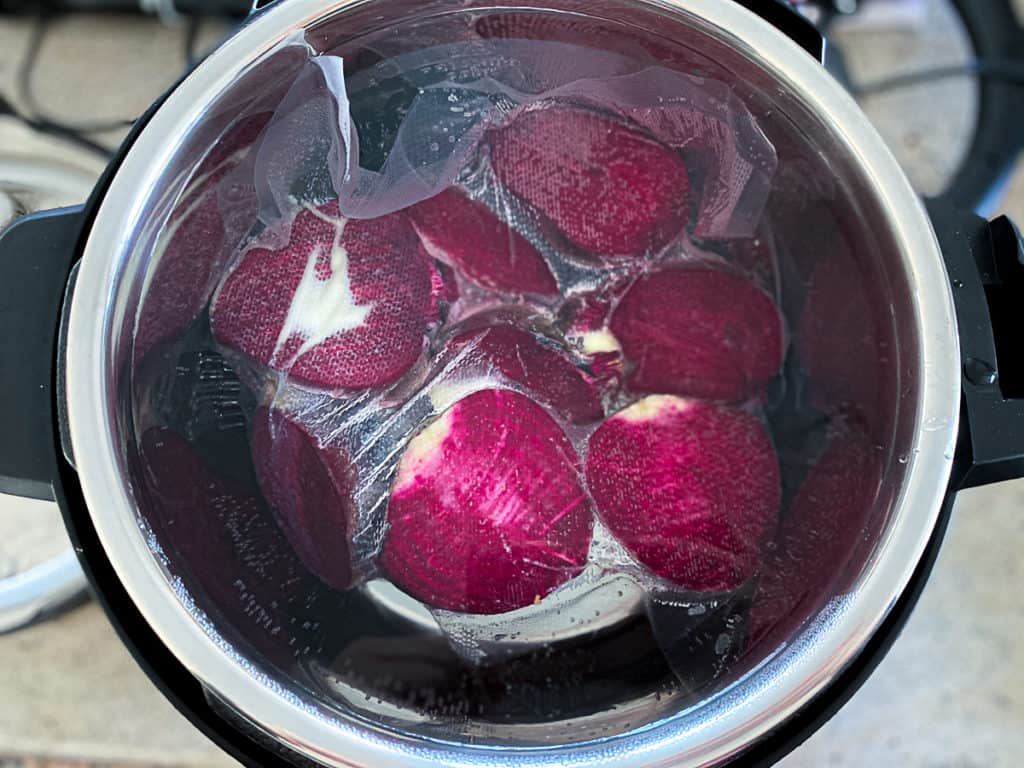cooking sous vide beets in a multipot