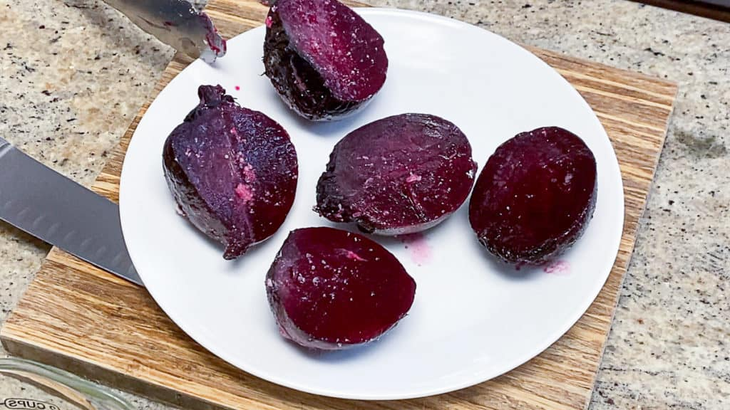top down shot of cooked sous vide beets with salt
