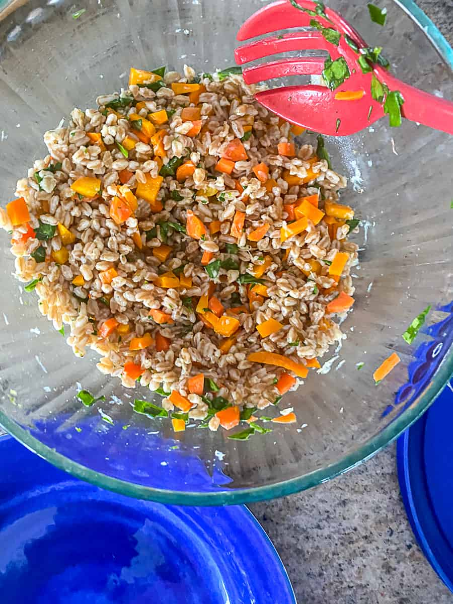 Top shot of chilled farro salad in mixing bowl with red mixing spoon.