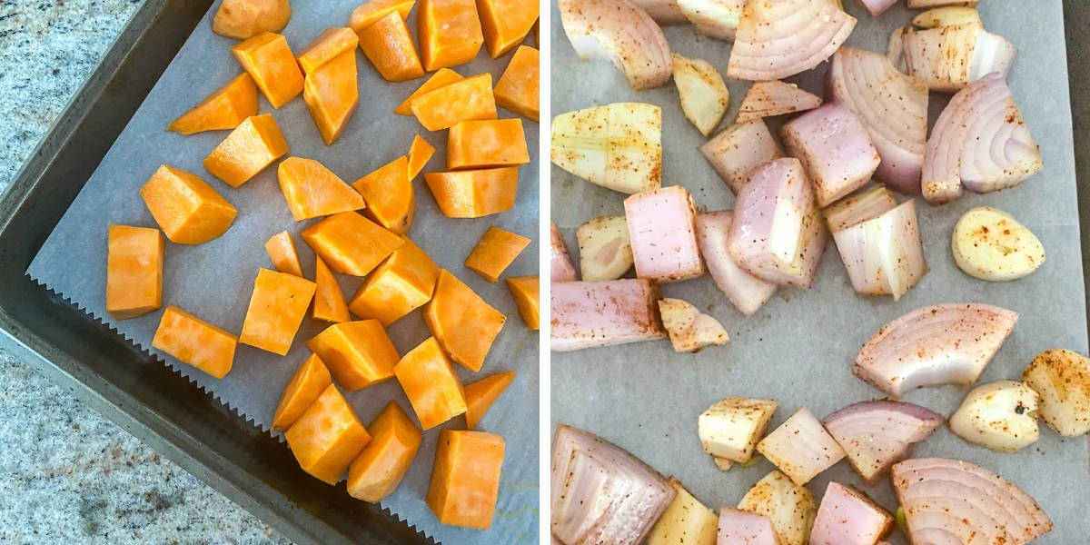 Left is top shot of cubed sweet potatoes on baking sheet, right is chopped onions and garlic on baking sheet.