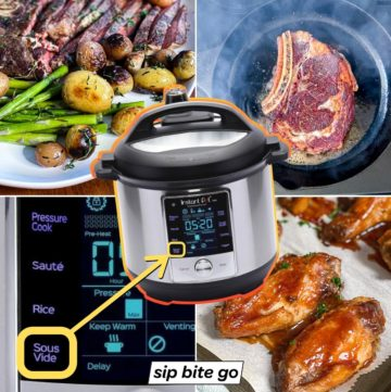 Collage of sous vide cooked food with Instant Pot Duo model.
