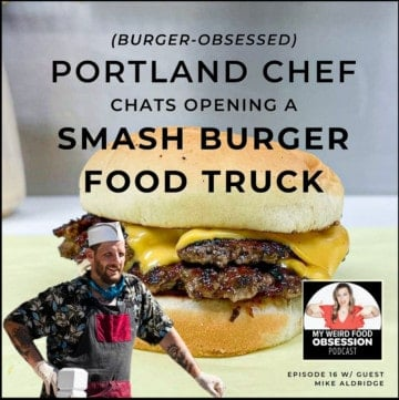 title text overlay with a double stacked burger, man in corner, and podcast logo