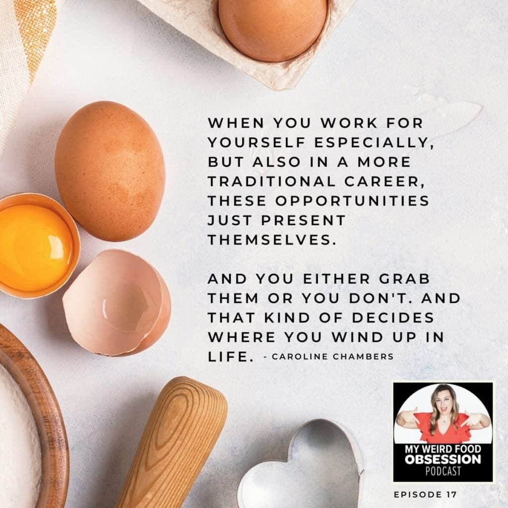 quote with eggs, both whole and cracked, and podcast logo in the corner