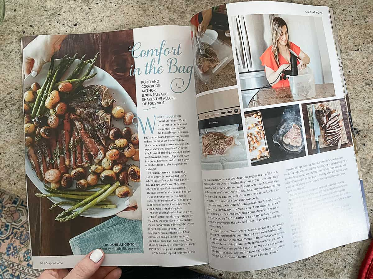 Open magazine of article about cookbook.