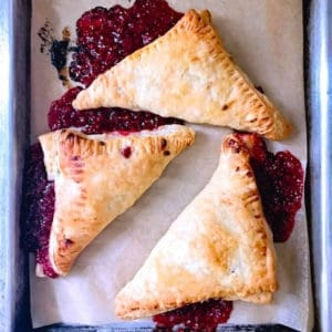 Brunch recipe for turnovers on a serving tray.