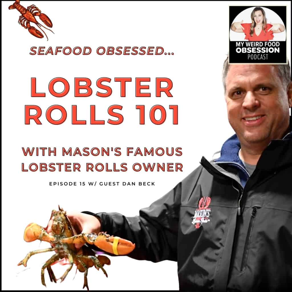 title text overlay with man holding lobster and podcast logo