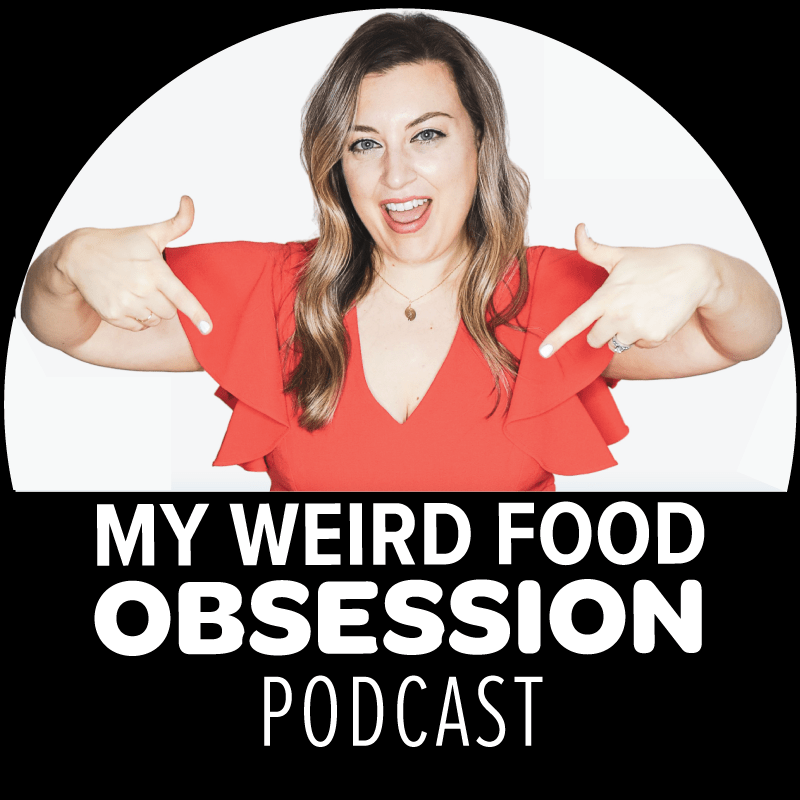 food podcast cover for my weird food obsession with jenna passaro in red