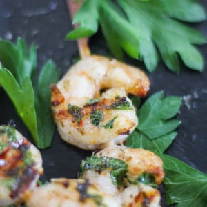 Top shot of sous vide shrimp on a skewer with herbs.