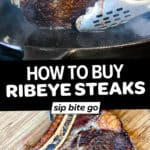 Collage of ribeye steak images with text overlay.