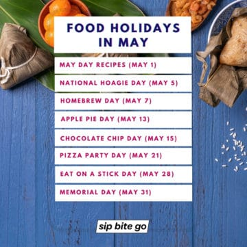 List of May Food Holidays on food themed background image.