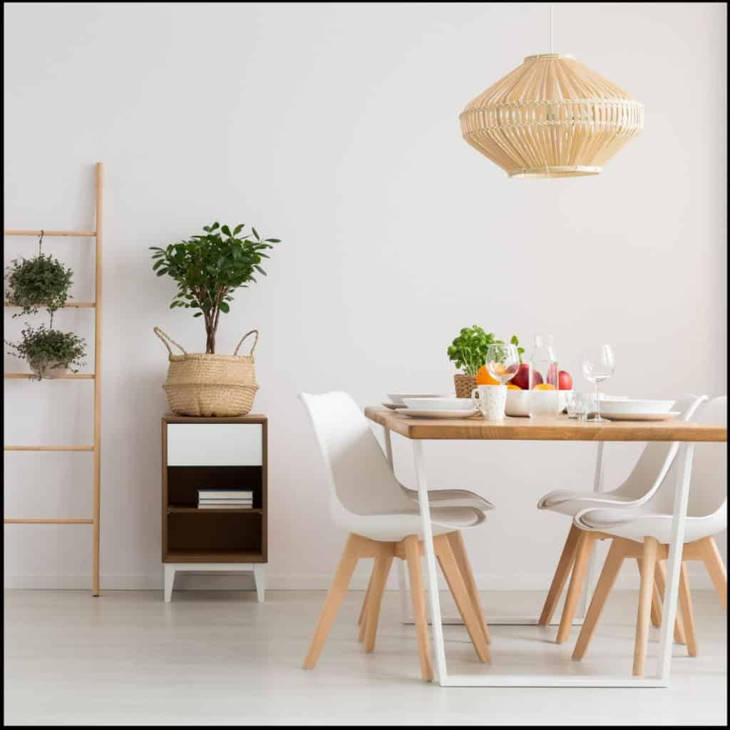 clean minimalist dining room set up