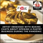 text overlay with title over patisserie with podcast logo in the corner
