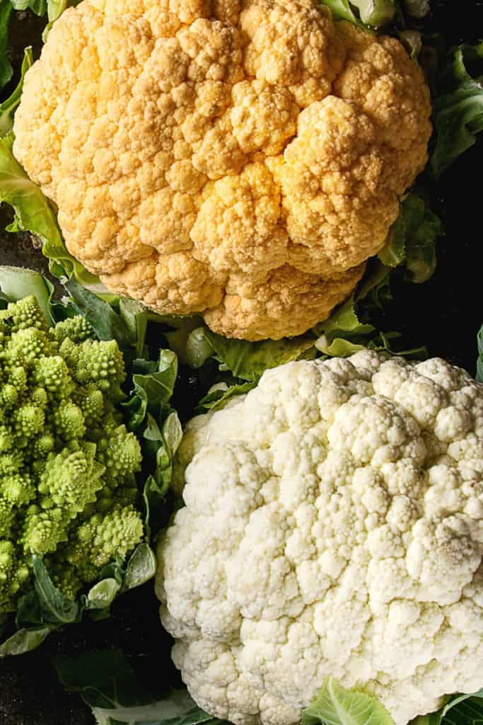 Top shot of in season fresh cauliflower.