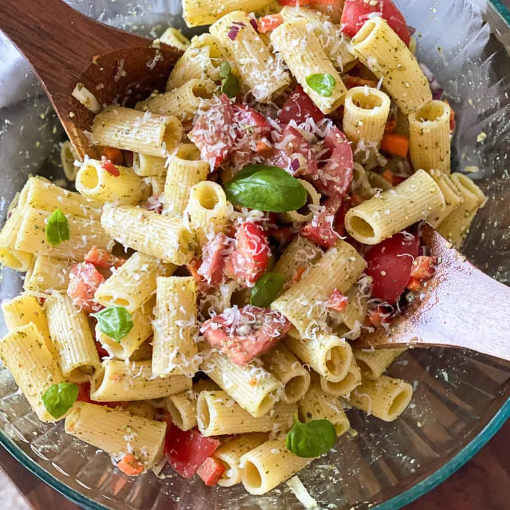 Top down shot of Tomato Pesto Pasta Salad Recipe.