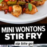 Collage with wonton stir fry images and text overlay.
