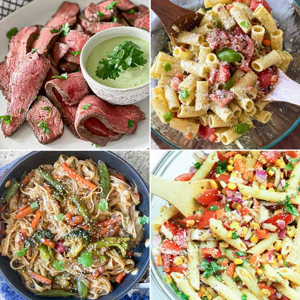 Collage of pasta side dish recipes for steak dinners.
