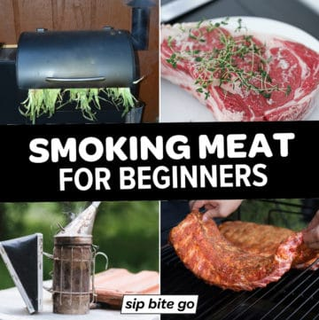 Collage of traeger grill and offset smoker and ribs and prime rib with text overlay that says smoking meats for beginners.