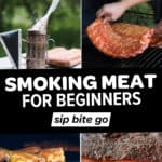 Collage of smoked meats and text overlay that reads smoking meat for beginners.