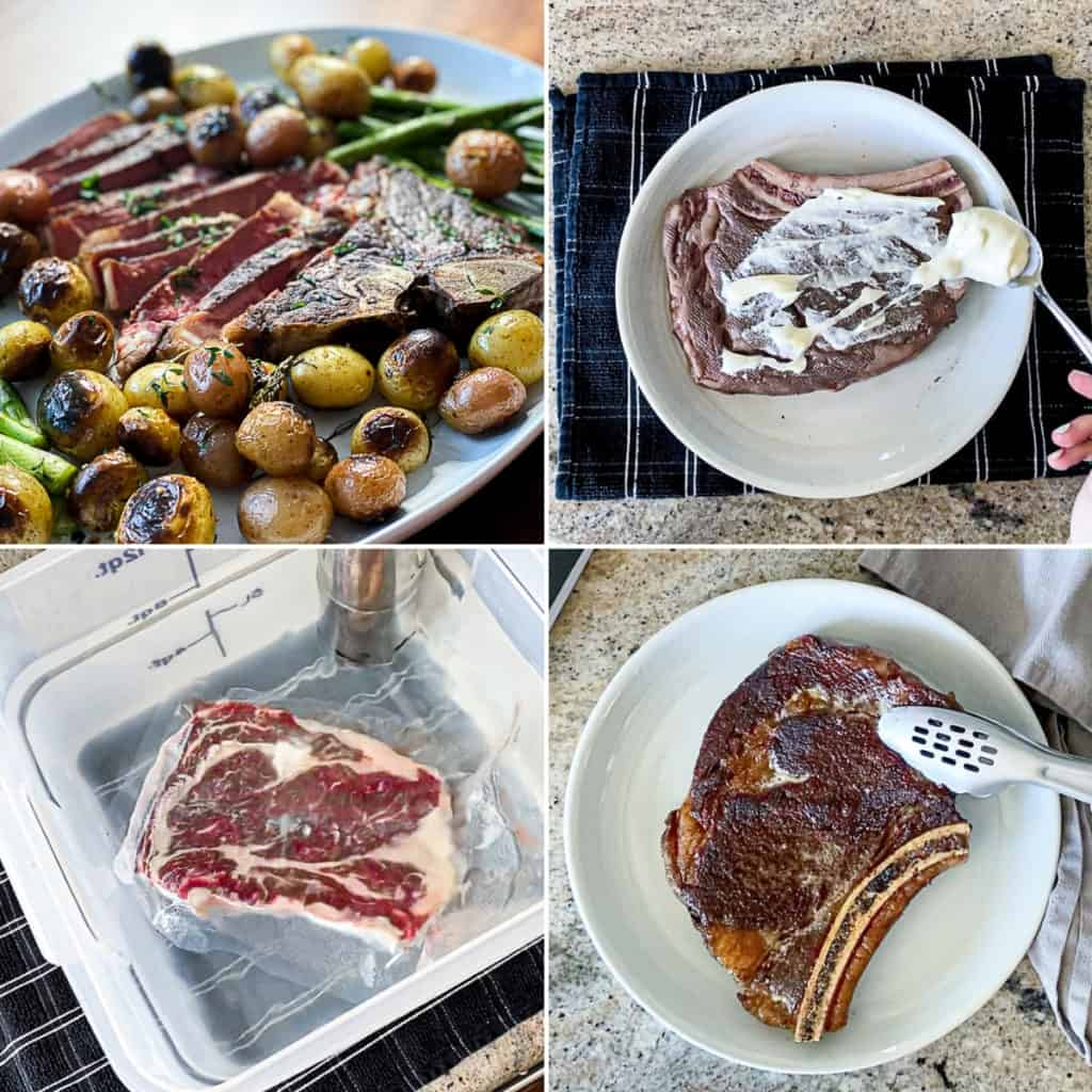 Collage with seasoned sous vide steaks.