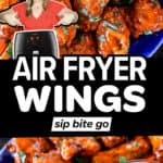 Image collage of air fryer wings recipes with text overlay.