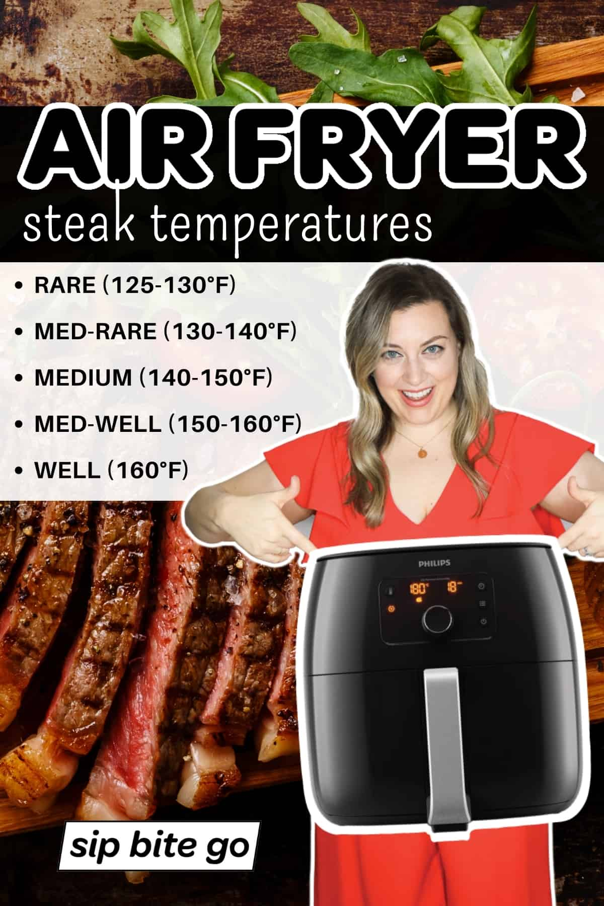 Air Fryer Steak Temperatures Chart Infographic With Text And air fryer machine and woman.