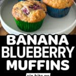 Image collage with text overlay of banana blueberry muffins.