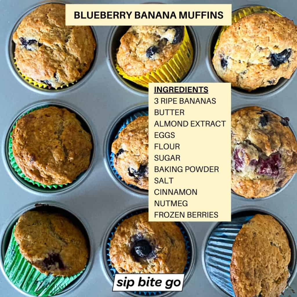 Image with text overlay of Ingredients for banana bread muffins with blueberries.