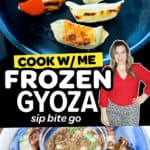 Image collage with text overlay of frozen gyoza from Trader Joe's.